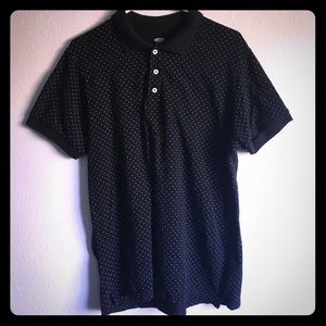 Black with white polka dots L polo